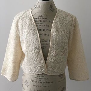 H&M Cream Lace Cropped Jacket